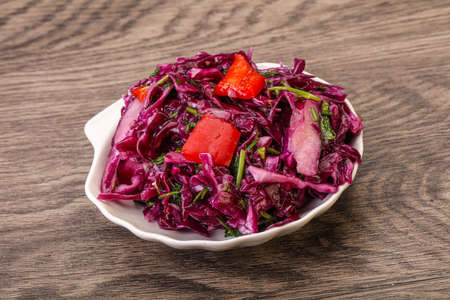 Pickled red cabbage with herbs and spices