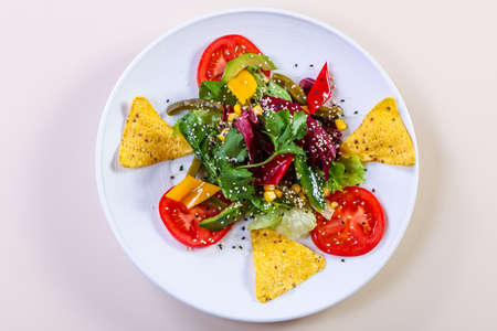 Vegetables salad with avocado and corn