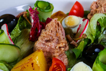 Tuna salad with vegetables and olives