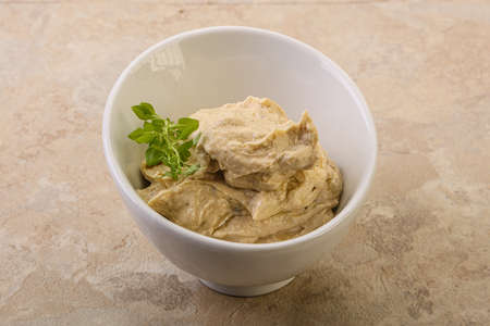 Vegan food - hummus dip with olive oil