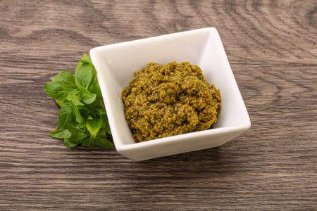 Green sauce pesto with basil and cedar nuts Stock fotó