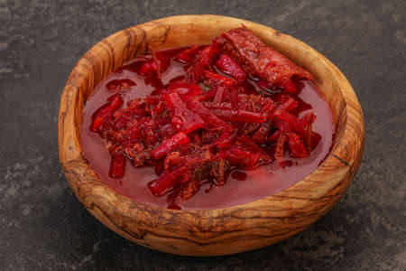 Russian traditional Borsch soup with cabbage and beef