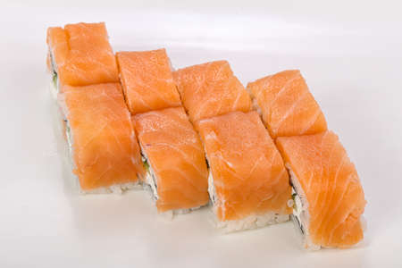 Japanese cuisine Philadelphia roll with salmon and cheese