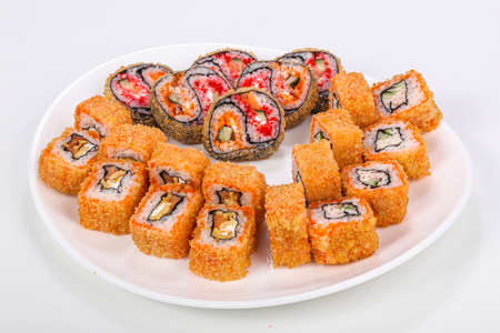 Japanese roll set with fish and cheese