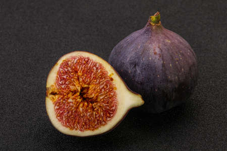 Sweet purple slice of fig fruit