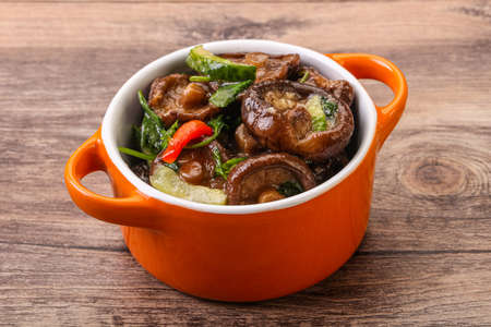 Marinated shiitake mushrooms with herbs and spices