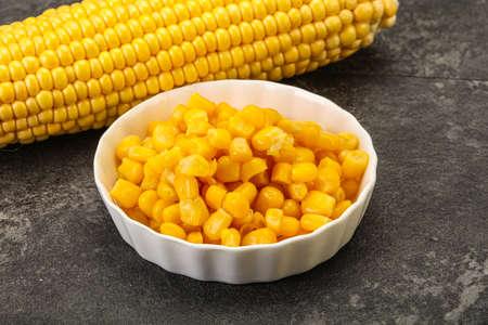 Sweet yellow corn grain in the bowl