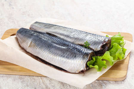 Marinated Herring fillet with skin for cooking