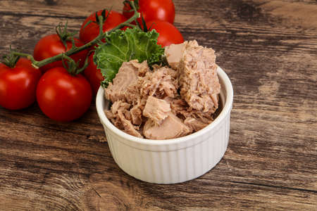 Tasty Canned tuna fillet in the bowl