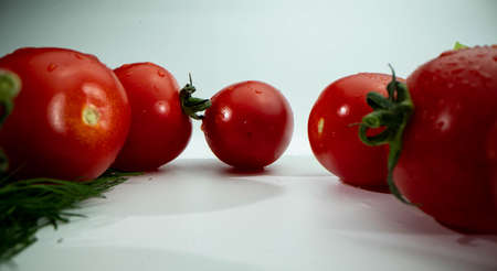 Red tomatoes on the white isolated background. Low angle macro shot