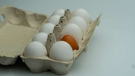 One dark egg lies in a cell in the middle of white eggs. Stockfoto