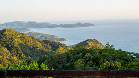 Seychelles. Beautiful view to tropical island in Indian Ocean from mountain. Freedom. Green landscape. Viewpoint. Archivio Fotografico - 148798963