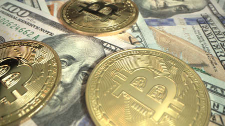 Three Golden Bitcoin on the ameracan 100 dollar money. Surface rotate counter clockwise. Mining. halving. Digital cyrrency of the future. Macro shot Stockfoto