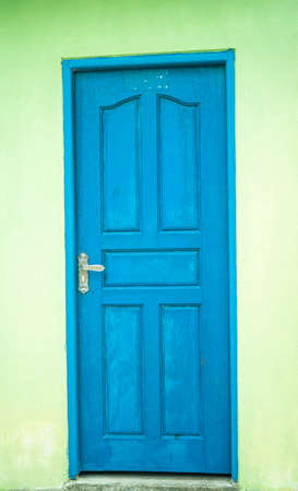 Blue luxury classic door opening to the bright light. Animation with luma matte.