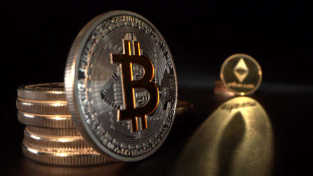 Silver Bitcoin BTC on the foreground and silver Etherium ETH with beautiful reflection on the background. Focus shifts from one cryptocoin to another. Crypto trading. Halving.