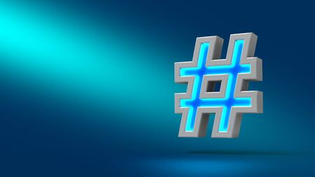 comma: neon sharp or hashtag. set 3d sign illustration