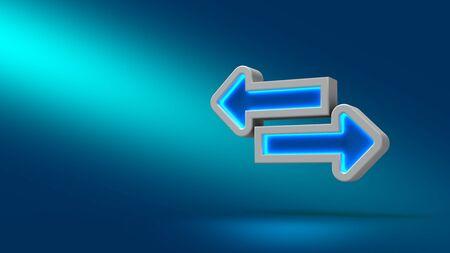 website buttons: Tab arrowe on blue background. 3d illustration. Set for design presentations.