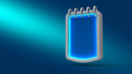 calendar icon: Glowing neon  bubble calendar on blue background. 3d illustration. Set for design presentations. Stock Photo