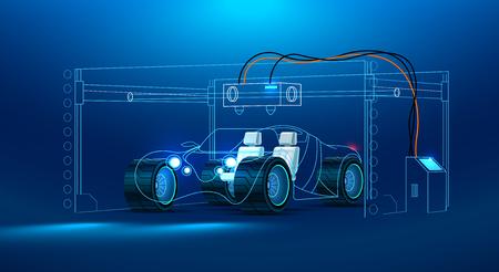 Prototyping 3d und Drucken 3d eines Autos, Automobile an einem großen industriellen Drucker 3d. Zusammenfassung das Konzept Auto. Konzept-Vektor-Illustration
