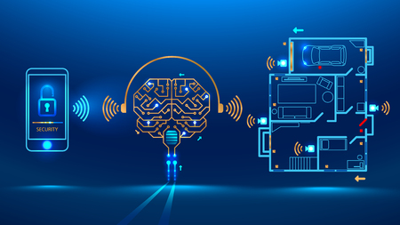 Artificial intelligence controls smart home in the distance through app on your smart phone. Shows protection level of the house. Vector illustration electronic print circuit board pcb style 일러스트