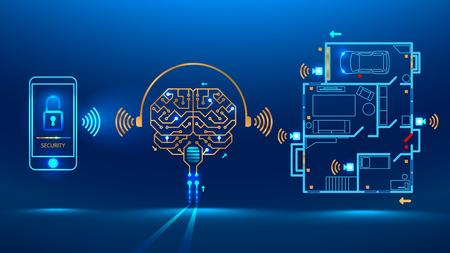 La inteligencia artificial controla el hogar inteligente a distancia mediante la aplicación en su teléfono inteligente. Muestra el nivel de protección de la casa. Ilustración vectorial de circuito impreso electrónico PCB placa de estilo