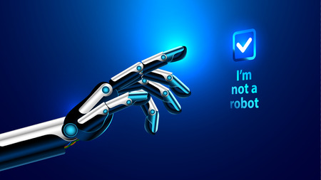 The robot hand or arm presses the button on the touchscreen. protection from bots. Vector illustration. spam protection hacking. hacking bot protection. chrome fingers points.