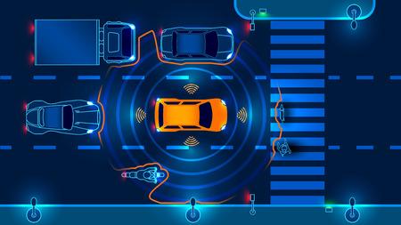 La voiture intelligente autonome balaye la route, la machine s'arrête automatiquement au passage à niveau de la ville. Illustration vectorielle.