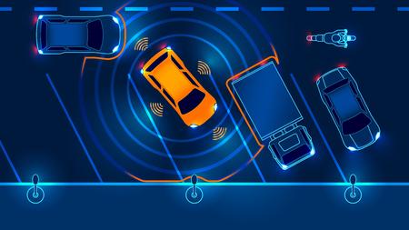 Smart coche está automáticamente estacionado en el estacionamiento, la vista desde la parte superior. Seguridad del sistema de asistencia de aparcamiento escanea la carretera. Ilustración del vector.