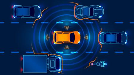 Autónomo coche inteligente va en la carretera en el tráfico. Escanea el camino, observa la distancia. Concepto del futuro. Ilustración de vector