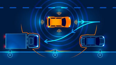 Parkeerhulpsysteem voor slimme auto parallel Parkeren. Vector illustratie.