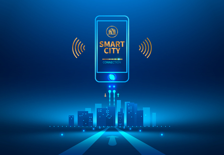 Smart city wireless communication with smart phone. Future concept. Vector illustration.