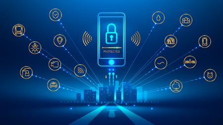 スマートシティとスマート フォンの接続。携帯電話の画面のアイコン ロック。モバイル セキュリティ, セキュリティで保護されたワイヤレス接続。