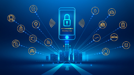 smart phone connection with a smart city. the icon lock on the mobile phone screen. Mobile security, secure wireless connection. The connection is protected. Future concept. Vector illustration.