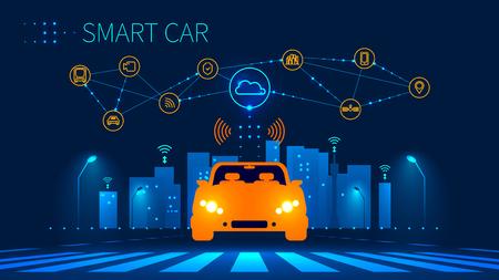 Conexión de red inalámbrica de coches inteligentes con smart city. Tecnología inteligente de vehículos y automóviles. Iconos de la infraestructura de la ciudad. Taxi Concepto de futuro. Ilustración del vector. Ilustración de vector