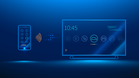 led display: The smart TV is controlled by a smart phone, transmits information via the cloud Illustration