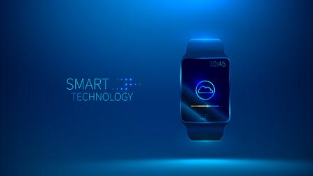 Smart watch. Smart technology. Cloud storage vector illustration