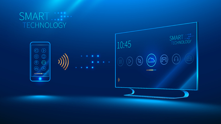 lcd tv: The smart TV is controlled by a smart phone, transmits information via the cloud Illustration