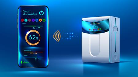 De smartphone bedient via een draadloze verbinding via internet met een slimme vaatwasser. Internet van dingen. IOT. Domotica instellen vectorillustratie