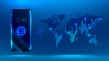 the smartphone is synchronized with your cloud storage data. Storing data in the cloud on servers around the world. Big data is transferred on a digital map of the world Illustration