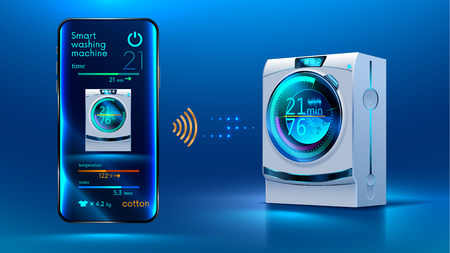The smartphone controls via a wireless connection via the Internet with a smart washing machine. Internet of things. IOT. Smart House. Home automation Vector illustration.