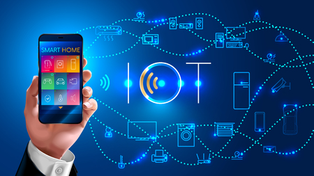 wirelessly: Internet of things. businessman holding phone in his hand and controls the smart home wirelessly, vector concept on blue background. Logo iot.
