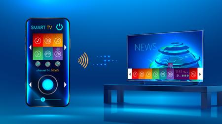 スマート テレビはテーブルの上です。スマート テレビのインタ フェース。スマート フォンは、スマート テレビ用のリモコンです。スマート フォ