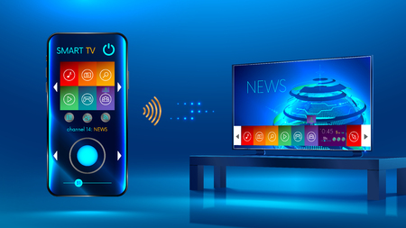 Smart TV is on the table. Smart TV interface. A smartphone is a remote for a smart TV. Interface for Smartphone app. Vector 일러스트