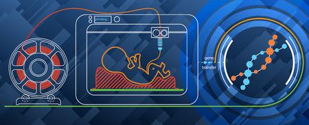 Futuristic concept. Print a human embryo on a 3D printer for DNA. Illustration