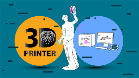 3d printing arms and clothes for Venus de Milo on 3d printer. Set flat vector illustration about 3d printing, printer, filament, modeling, prototype