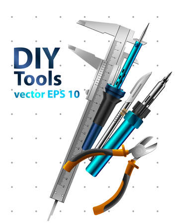 yourself: Diy tools vector isolated on white background. Set realistic illustrations. Illustration