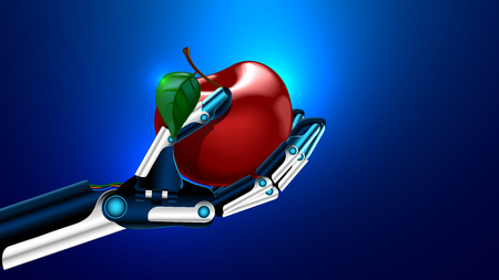 An artificial limb holding a apple - medical prosthetics technology concept.