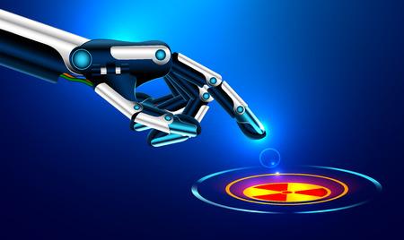 ロボット アームは、原子力の危険のアイコンが付いたボタンに人差し指を押します。未来のコンセプト。設定のロボット腕ジェスチャー。