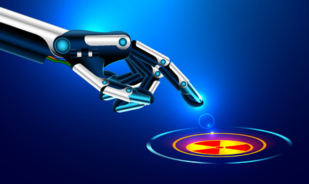 the robot arm presses the index finger on the button with the icon of the nuclear danger. futuristic concept. Set robot arms gesture. 일러스트