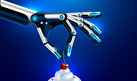 amputee: medical robotic prosthetic hand or arms puts the cherry on the cake. robot arm, vector. Set